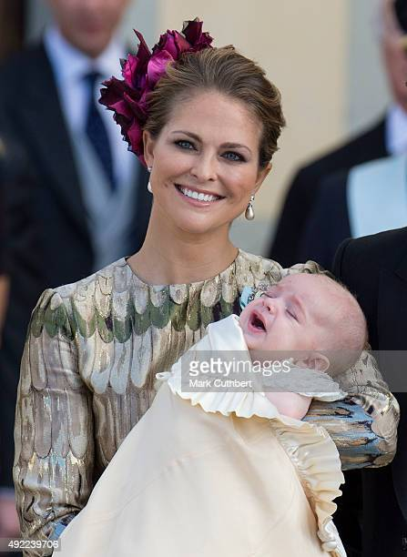 Princess Madeleine of Sweden and Prince Nicolas of Sweden are seen at Drottningholm Palace for the Christening of Prince Nicolas of Sweden at...
