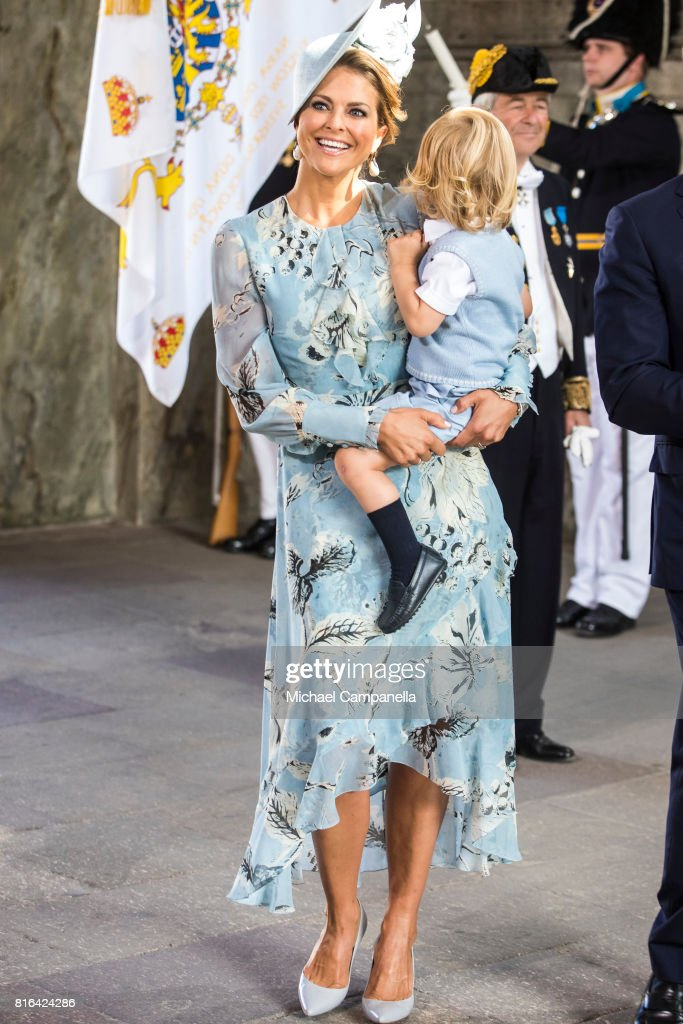 Princess Madeleine of Sweden and Prince Nicolas of Sweden arrive for a thanksgiving service on the occasion of The Crown Princess Victoria of Sweden's 40th birthday celebrations at the Royal Palace on July 14, 2017 in Stockholm, Sweden. The celebrations in Stockholm end with the Crown Princess Family being escorted from the Royal Palace to the Royal Stables in a horse drawn carriage.