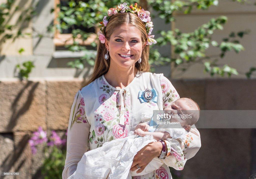Princess Madeleine of Sweden and Princess Adrienne of Sweden attend the christening of Princess Adrienne of Sweden at Drottningholm Palace Chapel on June 8, 2018 in Stockholm, Sweden.