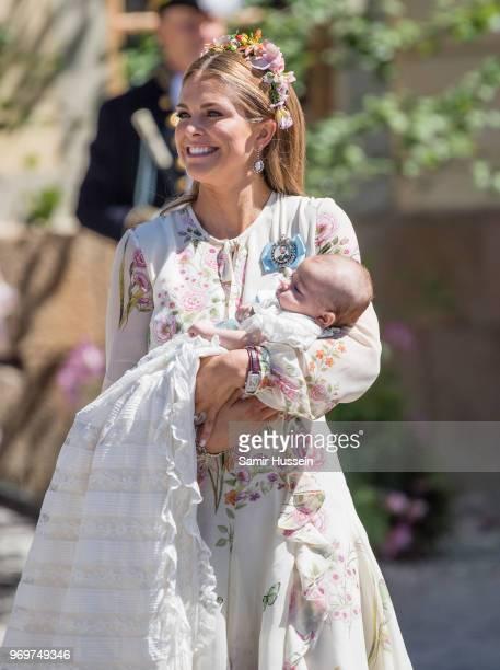 Princess Madeleine of Sweden and Princess Adrienne of Sweden attend the christening of Princess Adrienne of Sweden at Drottningholm Palace Chapel on...