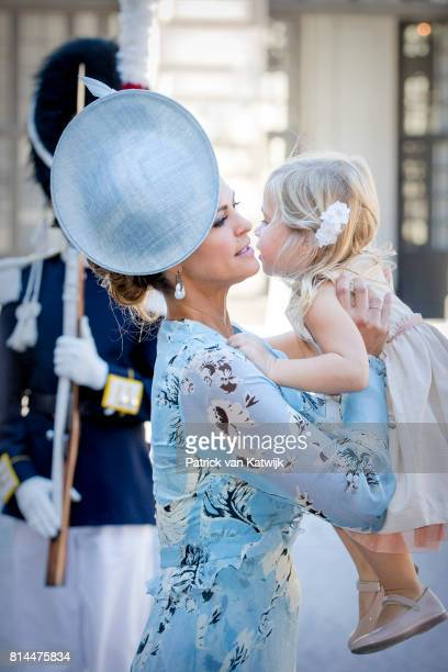 Princess Madeleine of Sweden and Princess Leonore of Sweden arrive for a thanksgiving service on the occasion of The Crown Princess Victoria of...