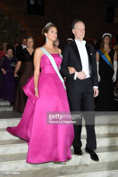 Princess Madeleine of Sweden and Professor William G Kaelin Jr laureate of the Nobel Prize in Medicine arrive at the Nobel Prize Banquet 2018 at City...