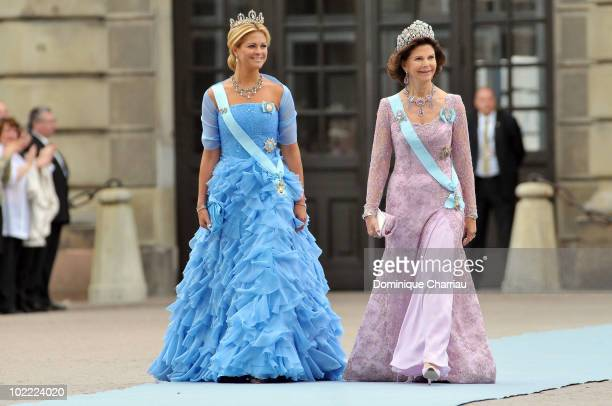 Princess Madeleine of Sweden and Queen Silvia of Sweden attend the wedding of Crown Princess Victoria of Sweden and Daniel Westling on June 19 2010...