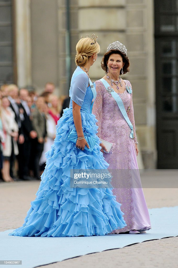 Princess Madeleine of Sweden and Queen Silvia of Sweden attend the wedding of Crown Princess Victoria of Sweden and Daniel Westling on June 19, 2010 in Stockholm, Sweden.