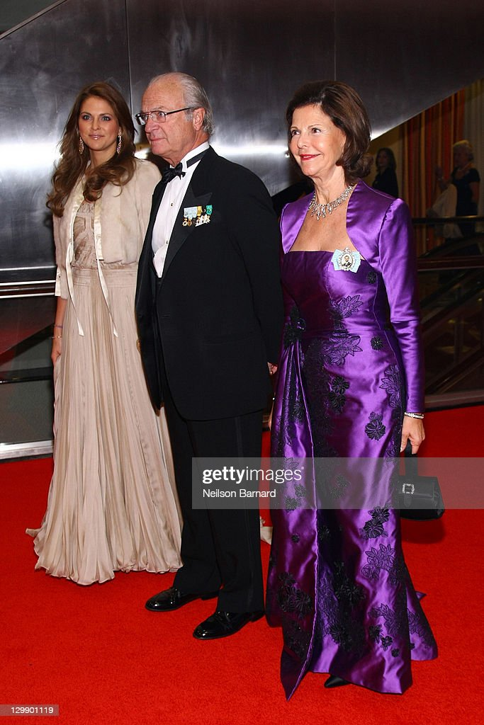 Princess Madeleine of Sweden, and Their Majesties King Carl XVI Gustaf of Sweden and Queen Silvia of Sweden attend the American Scandinavian Foundation's Centennial Ball at The Hilton Hotel on October 21, 2011 in New York City.