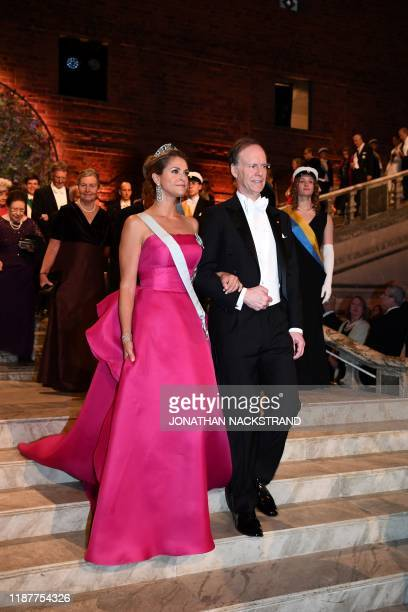 Princess Madeleine of Sweden and US professor of medicine and colaureate of the 2019 Nobel Prize in Physiology or Medicine William G Kaelin arrive...