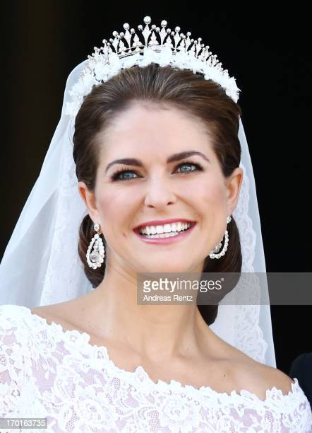 Princess Madeleine of Sweden appears on the balcony after the wedding ceremony of Princess Madeleine of Sweden and Christopher O'Neill hosted by King...