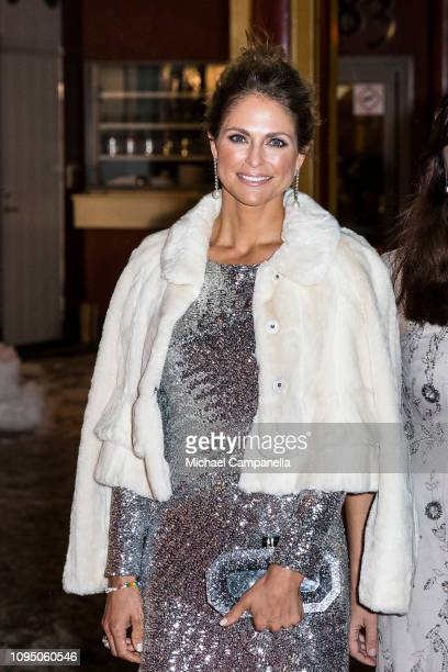 Princess Madeleine of Sweden arrives at a charity dinner in connection with the World Childhood Foundations 20th anniversary at Tyrol restaurant on...