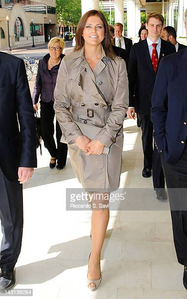 Princess Madeleine of Sweden arrives at the inauguration of the Raoul Wallenberg exhibit 'To Me There's No Other Choice' at the House of Sweden on...