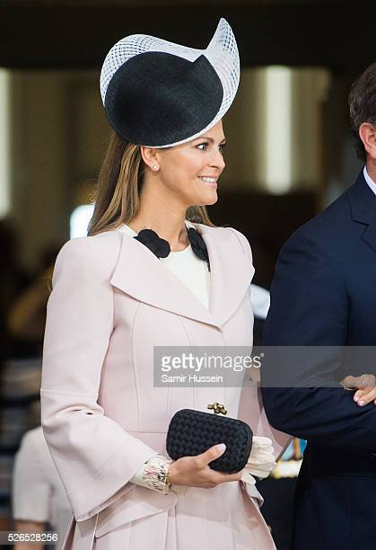 Princess Madeleine of Sweden arrives at the Royal Palace to attend Te Deum Thanksgiving Service to celebrate the 70th birthday of King Carl Gustaf of...