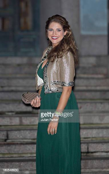 Princess Madeleine of Sweden arrives at the Swedish Riksdag's concert to celebrate King Carl Gustaf of Swedens 40th Jubilee at Stockholm Concert Hall...