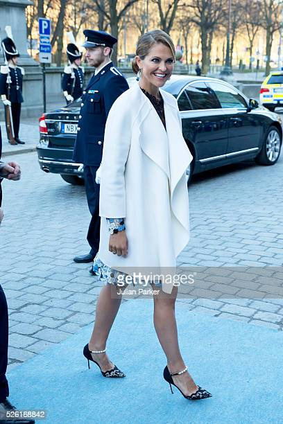 Princess Madeleine of Sweden arrives for a Concert at the Nordic Museum on the eve of King Carl Gustaf of Sweden's 70th Birthday given by The Royal...