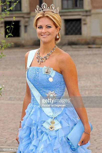 Princess Madeleine of Sweden arrives to attend the Wedding Banquet for Crown Princess Victoria of Sweden and her husband prince Daniel at the Royal...