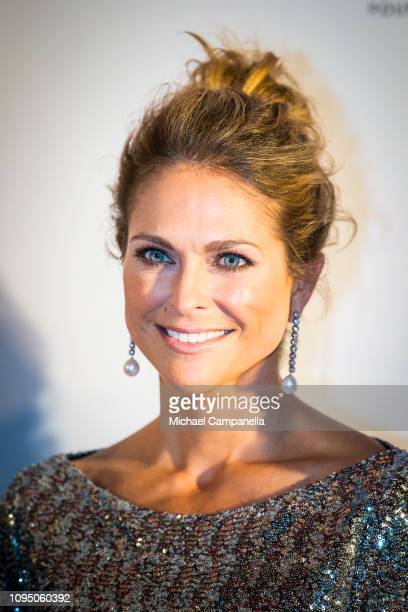 Princess Madeleine of Sweden attends a charity dinner in connection with the World Childhood Foundations 20th anniversary at Tyrol restaurant on...