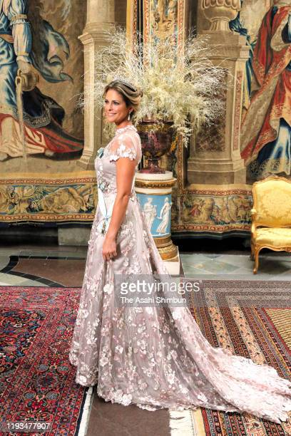 Princess Madeleine of Sweden attends the banquet hosted by King Carl XVI Gustaf of Sweden for the Nobel Prize laureates at the Royal Palace on...