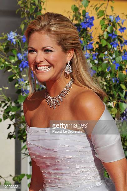 Princess Madeleine of Sweden attends the Government Pre-Wedding Dinner for Crown Princess Victoria of Sweden and Daniel Westling at The Eric Ericson...