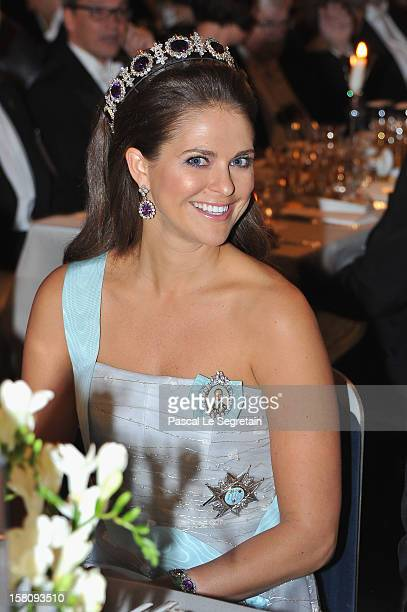 Princess Madeleine of Sweden attends the Nobel Banquet after the 2012 Nobel Peace Prize Ceremony at Town Hall on December 10, 2012 in Stockholm,...