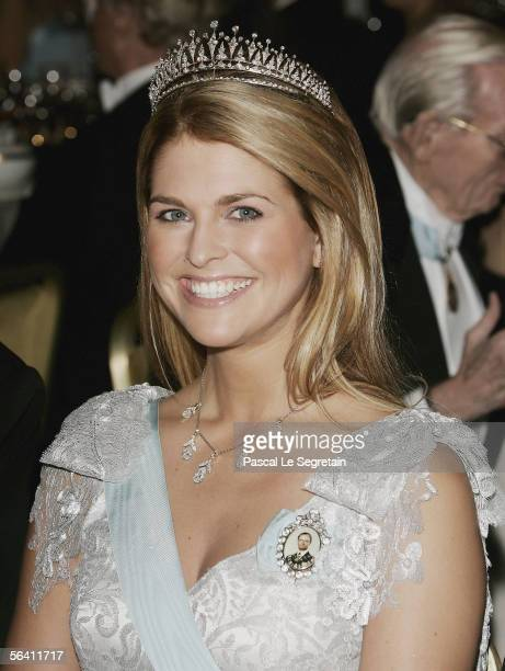 Princess Madeleine of Sweden attends the Nobel Banquet at the Stockholm City Hall on December 10 2005 in Stockholm Sweden