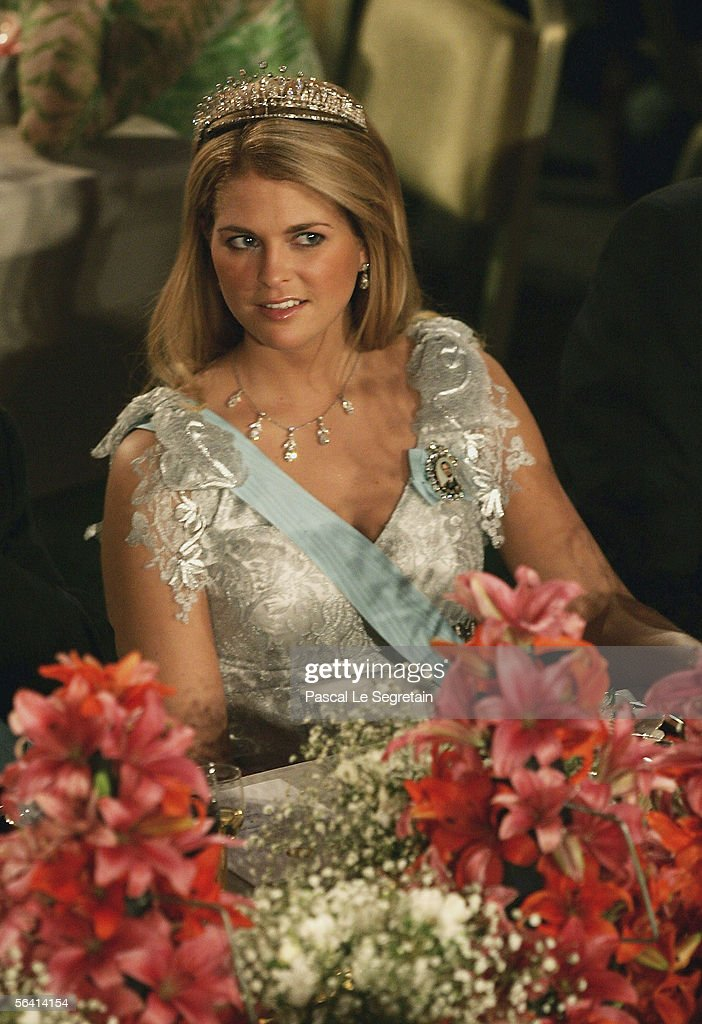 Princess Madeleine of Sweden attends the Nobel Banquet at the Stockholm City Hall on December 10, 2005 in Stockholm, Sweden.