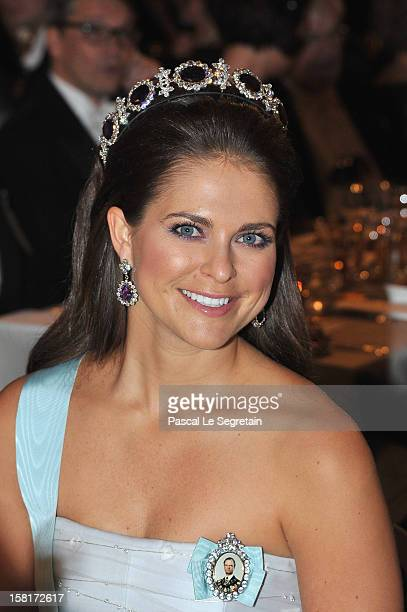 Princess Madeleine of Sweden attends the Nobel Banquet at Town Hall on December 10 2012 in Stockholm Sweden