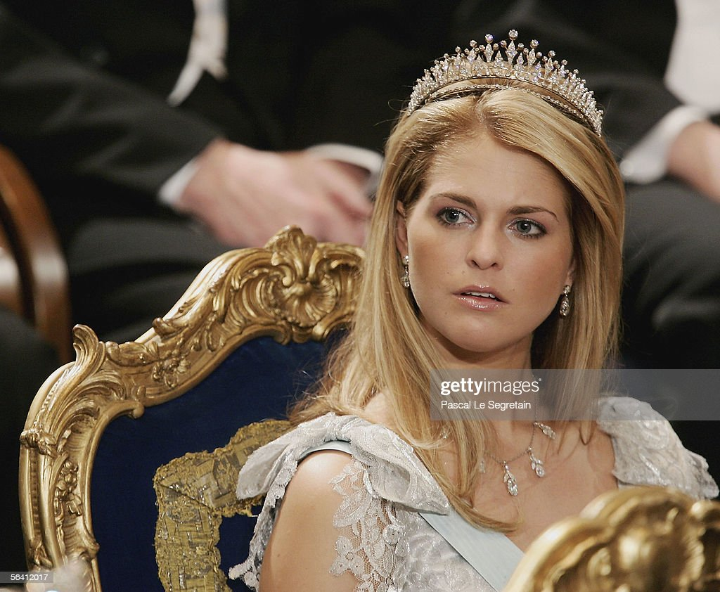Princess Madeleine of Sweden attends the Nobel Foundation Prize 2005 at the Concert Hall on December 10, 2005 in Stockholm, Sweden.