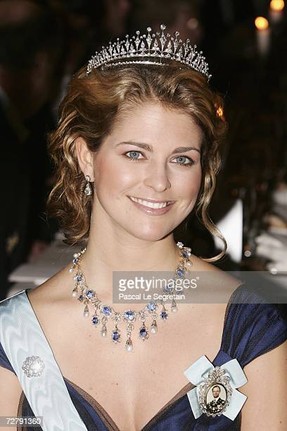 Princess Madeleine of Sweden attends the Nobel Foundation Prize 2006 Gala Dinner at the City Hall on December 10 2006 in Stockholm Sweden