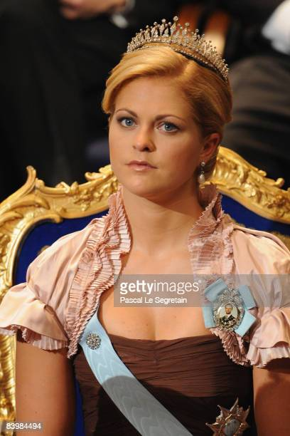 Princess Madeleine of Sweden attends the Nobel Foundation Prize 2008 Awards Ceremony at the Concert Hall on December 10, 2008 in Stockholm, Sweden.