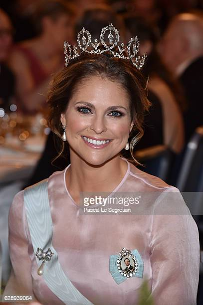 Princess Madeleine of Sweden attends the Nobel Prize Banquet 2015 at City Hall on December 10 2016 in Stockholm Sweden