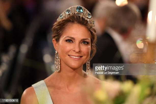 Princess Madeleine of Sweden attends the Nobel Prize Banquet 2018 at City Hall on December 10 2019 in Stockholm Sweden