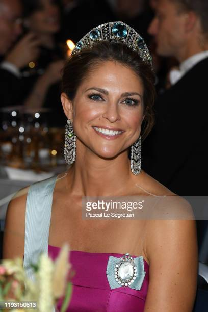 Princess Madeleine of Sweden attends the Nobel Prize Banquet 2018 at City Hall on December 10, 2019 in Stockholm, Sweden.