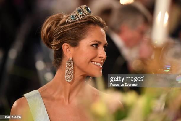 Princess Madeleine of Sweden attends the Nobel Prize Banquet 2018 at City Hall on December 10 2019 in Stockholm Sweden