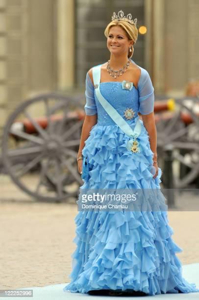 Princess Madeleine of Sweden attends the wedding of Crown Princess Victoria of Sweden and Daniel Westling on June 19 2010 in Stockholm Sweden