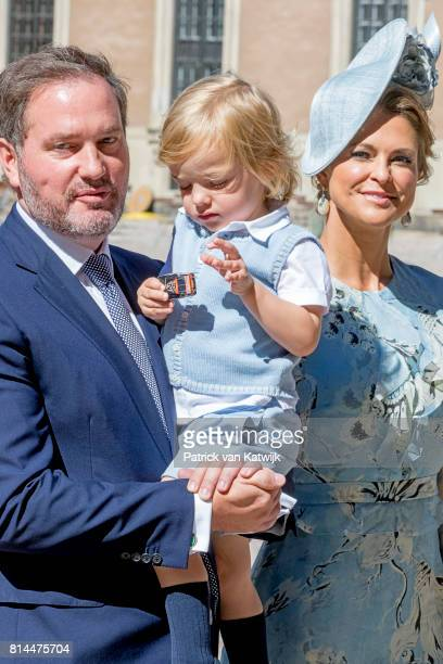 Princess Madeleine of Sweden Chris O'Neill and Prince Nicolas of Sweden arrive for a thanksgiving service on the occasion of The Crown Princess...