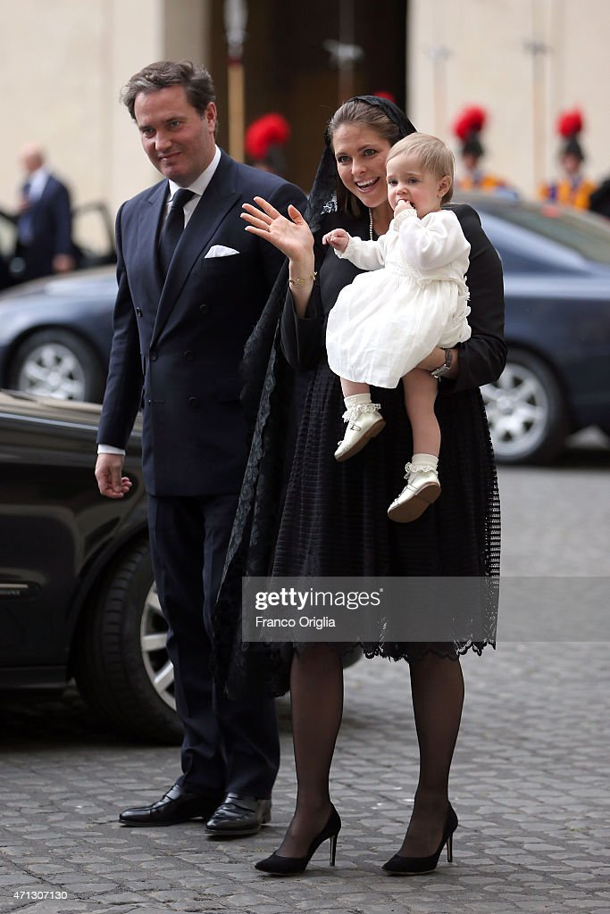 Princess Madeleine of Sweden, Christopher O'Neill and their daughter Princess Leonore arrive at the San Damaso Courtyard for her meeting with Pope Francis on April 27, 2015 in Vatican City, Vatican. In the afternoon the Queen will attend a meeting on the theme of human trafficking at the Vatican.