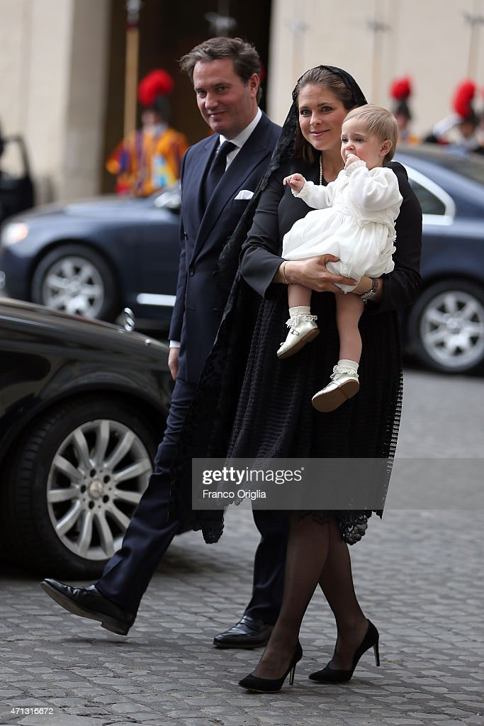 Princess Madeleine of Sweden, Christopher O'Neill and their daughter Princess Leonore arrive at the San Damaso Courtyard for her meeting with Pope Francis on April 27, 2015 in Vatican City, Vatican. In the afternoon Queen Silvia will open a seminar against human trafficking with a theme 'Human Trafficking with a Special Focus on Children'.