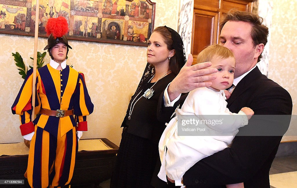 Princess Madeleine of Sweden, Christopher O'Neill and their daughter Princess Leonore arrive at the Apostolic Palace for a private audience with Pope Francis at the Apostolic Palace on April 27, 2015 in Vatican City, Vatican. In the afternoon the Queen will attend a meeting on the theme of human trafficking at the Vatican.