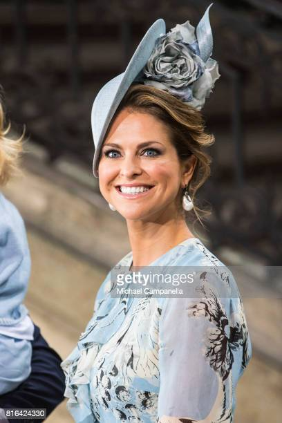 Princess Madeleine of Sweden departs after a thanksgiving service on the occasion of The Crown Princess Victoria of Sweden's 40th birthday...