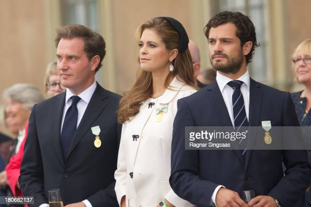 Princess Madeleine of Sweden her husband Christopher O'Neill and Prince Carl Philip of Sweden attend the City Of Stockholm Celebrations during King...