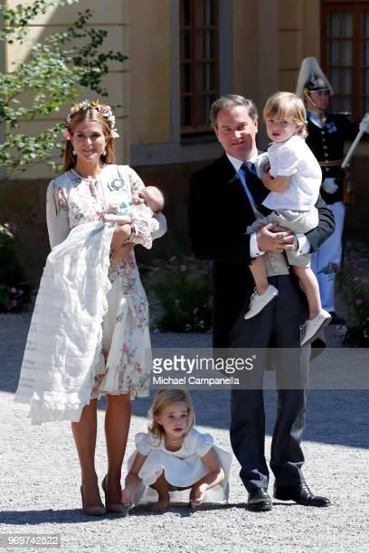 Princess Madeleine of Sweden holding Princess Adrienne of Sweden Princess Eleonore of Sweden and Christopher O'neil holding Prince Nicolas of Sweden...
