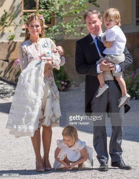 Princess Madeleine of Sweden holding Princess Adrienne of Sweden Princess Eleonore of Sweden and Christopher O'Neill holding Prince Nicolas of Sweden...