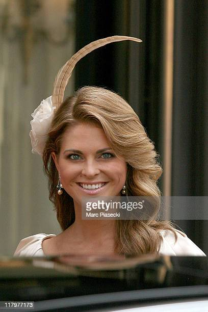 Princess Madeleine of Sweden is sighted leaving the 'Hermitage' hotel to attend the Royal Wedding of Prince Albert II of Monaco to Charlene Wittstock...