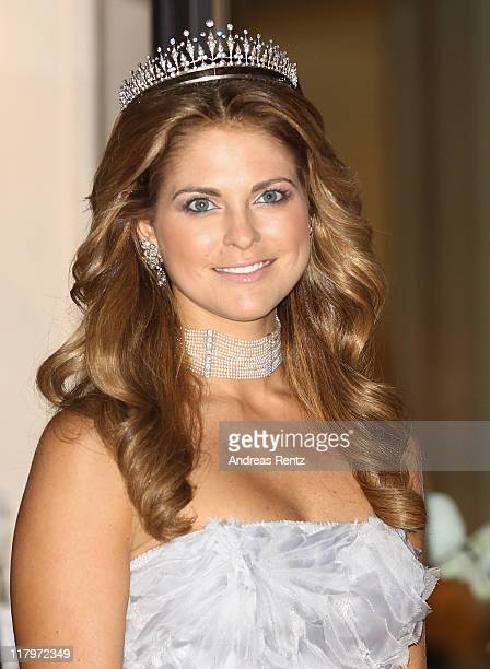 H Princess Madeleine of Sweden leaves the Hotel Hermitage to attend a dinner at Opera terraces after the religious wedding ceremony of Prince Albert...