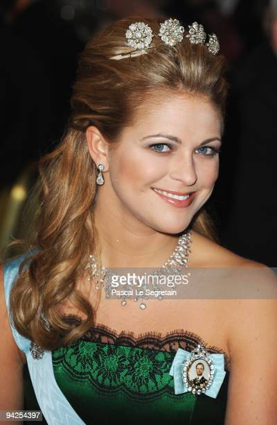Princess Madeleine of Sweden poses during the Nobel Foundation Prize Banquet 2009 at the Town Hall on December 10 2009 in Stockholm Sweden