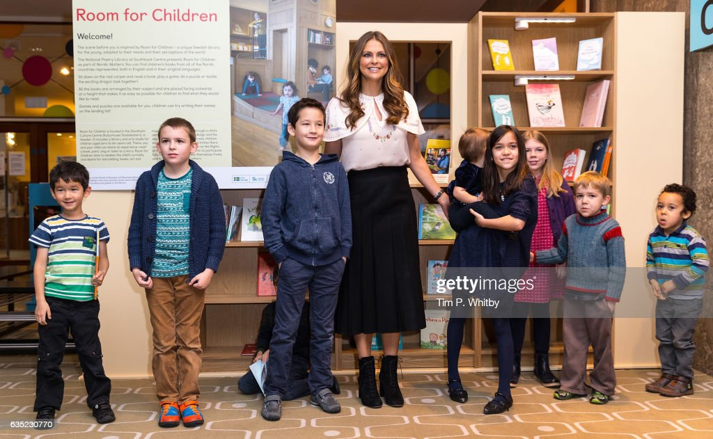 Princess Madeleine of Sweden poses for a photo with children during a visit to the Southbank Centre's 'Imagine' Children's festival where she opened the 'Room for Children' at the Royal Festival Hall on February 14, 2017 in London, England. The 'Room for Children' is a library filled with children's books from Nordic countries.
