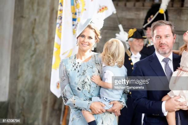Princess Madeleine of Sweden Prince Nicolas of Sweden Christopher O'Neill and Princess Leonore of Sweden arrive for a thanksgiving service on the...