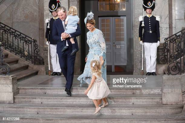 Princess Madeleine of Sweden Prince Nicolas of Sweden Christopher O'Neill and Princess Leonore of Sweden depart after a thanksgiving service on the...