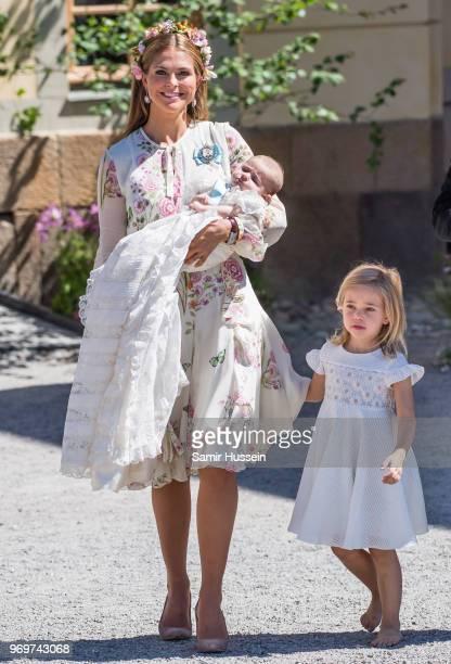 Princess Madeleine of Sweden Princess Adrienne of Sweden and Princess Leonore of Sweden attend the christening of Princess Adrienne of Sweden at...