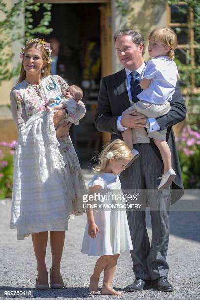 Princess Madeleine of Sweden princess Adrienne of Sweden princess Leonore of Sweden Mr Christopher O'Neill and prince Nicolas of Sweden are pictured...