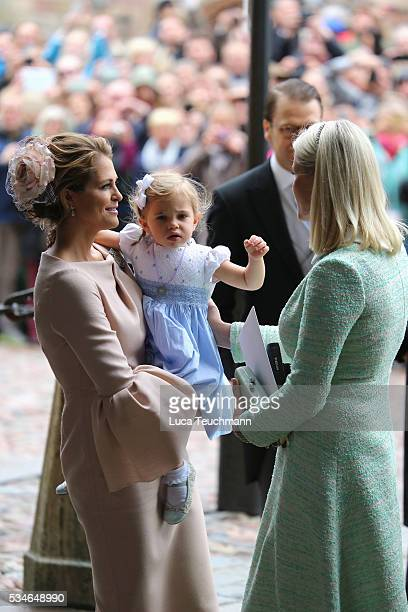 Princess Madeleine of Sweden Princess Leonore of Sweden and Crown Princess MetteMarit of Norway are seen at The Royal Palace for the Christening of...