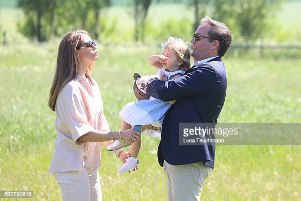 Princess Madeleine of Sweden Princess Leonore of Sweden and Christopher O'Neill are seen visiting the stables on June 3 2016 in Gotland Sweden...